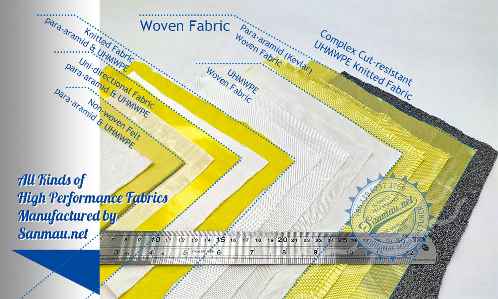 Comapre of woven|non-woven|UD fabrics of Kevlar|aramid UHMWPE|Dyneema on one image