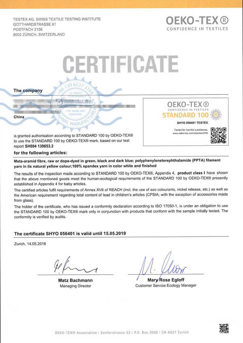 OEKO-Tex Certification of Para-aramid Fiber