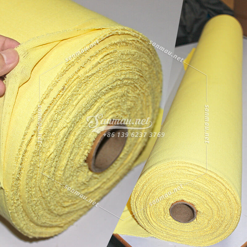 cut proof fabric, a roll of Kevlar knitted fabric, yellow, made of Kevlar yarn, sligh elastic