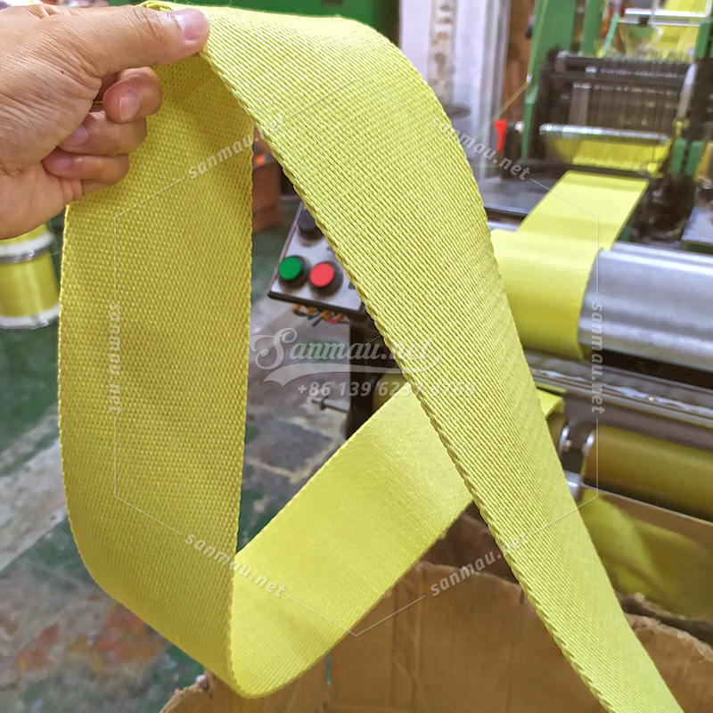 Kevlar heavy duty sling webbing on producing