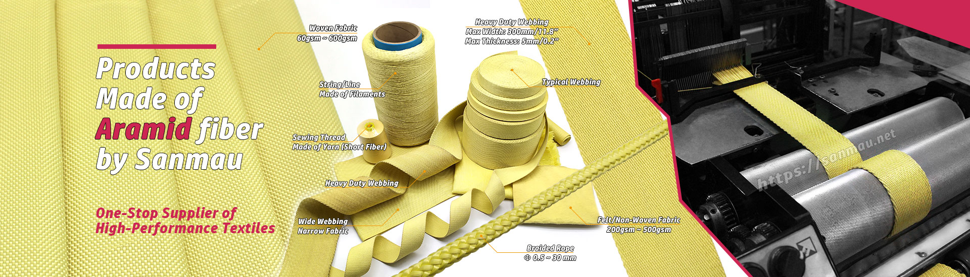 Kevlar aramid fiber textiles together