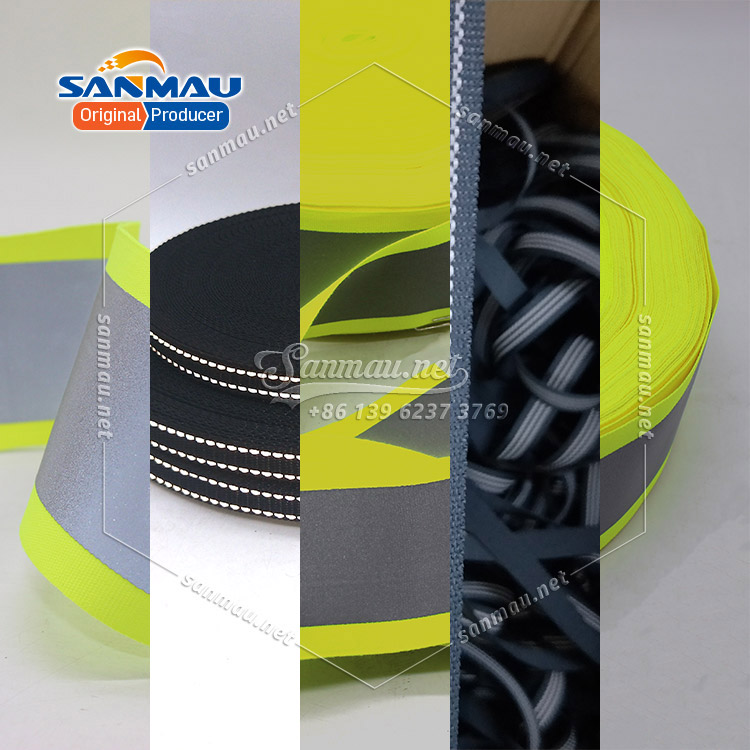 reflective nylon webbing strap with reflective thread polypropylene webbing tape with reflective stitching Fluorescent Black Reflective Fabric Ribbon Webbing Tape Strip Edging Braid Trim Sew On Tape DIY Dog Rope